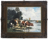 cows drinking in a river landscape by marie dieterle