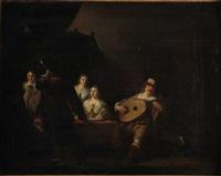 musiciens dans un intérieur by anthonie palamedesz