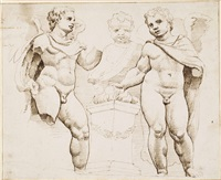 studies of winged putti, after the antique by maerten jacobsz van heemskerck