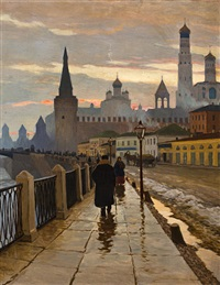 a view of the kremlin from the moscow river embankment by mikhail markianovich germanshev