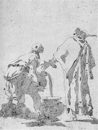 two men seen from behind, one pouring water in a vase: study for a wedding at cana by giovanni raggi
