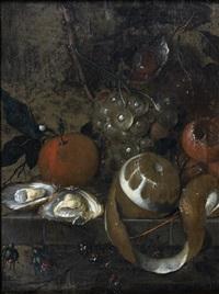 nature morte aux fruits et aux huîtres sur un entablement de pierre by martinus nellius