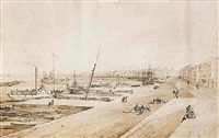 steamboat wharf, montreal harbour by james d. duncan