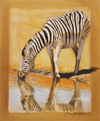zebra and foal (+ zebra watering, smllr; 2 works) by kim donaldson