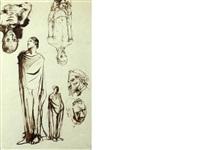 sheet of figure studies by pavel tchelitchew