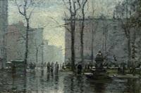 rainy day, new york city by paul cornoyer