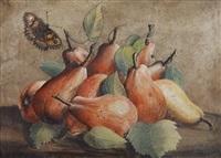 stillleben mit birnen und einem schmetterling by giovanna garzoni