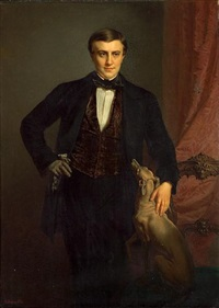 a portrait of a gentleman, three-quarter length, with his greyhound by jean baptiste (jean mathieu) nisen