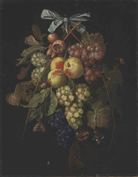 a swag of grapes, peaches, and nuts hanging from a bow with butterflies and a spider by david cornelisz heem iii