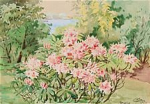 A Rhododendron Bush In The Garden Of Hvidøre Palace By Grand Duchess Olga  Alexandrovna