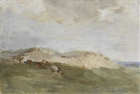 sheep resting in the shade; the sand dune; river landscape (3 works) by nathaniel hone the younger