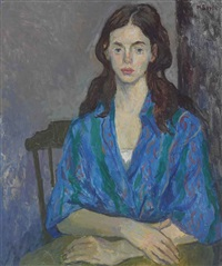 brunette in chair by moses soyer