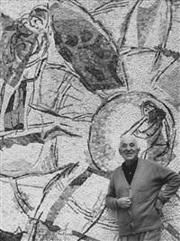 marc chagall vor seinem monumental werk in nizza by andré villers