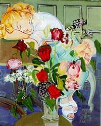 femme assoupie au bouquet de tulipes by jean mablord