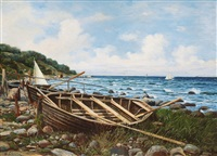 rowboats on the shore near misdroy on wolin by hans schleich