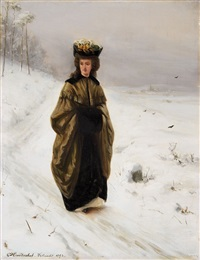 lady walking in a snowy landscape by ottmar hendschel