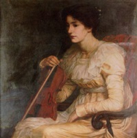 a girl with a violin by harry robert mileham