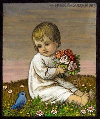 sitzendes kind mit blumenstrauß und kleinem blauem vogel by hans huber-sulzemoos