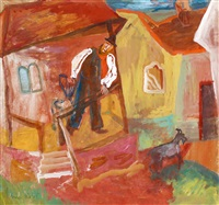 yard with a porch (man calling his goat) by margit anna