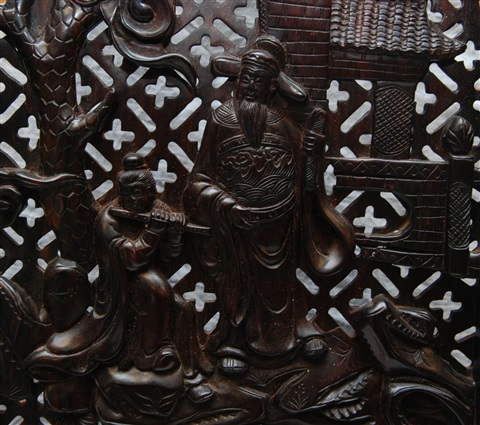 chinese zitan wood reticulated 8 panel screen