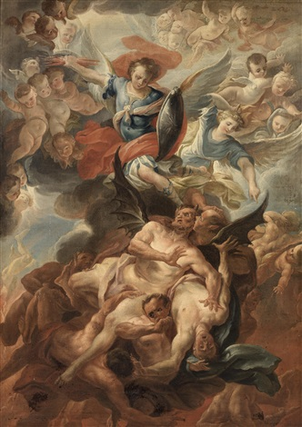 saint michael defeating the devil by carlo innocenzo carlone on artnet