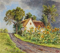 sunflowers at a farmhouse in ballerup by olga (grand duchess) alexandrovna