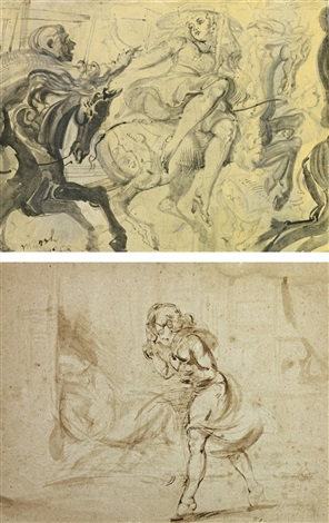 girl on merry go round and walking girl with sleeping tramp in a doorway 2 works by reginald marsh