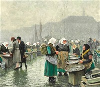 fishwifes from skovshoved selling fish at gl. strand, copenhagen by paul gustave fischer