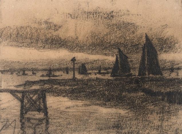 nieuport, haven - the harbour of nieuwpoort, belgium by xavier mellery
