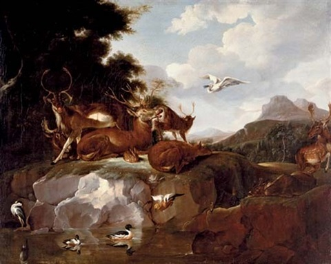 deer ducks a rabbit a spoonbill and other animals in a landscape by carl borromaus andreas ruthart