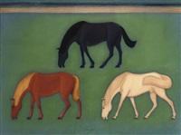 grazende paarden by johan van hell