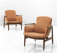 easy chairs, model nv-53 (pair) by finn juhl