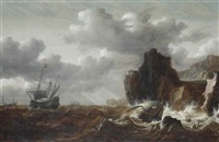 a shipwreck on the cliffs in a gale by simon de vlieger