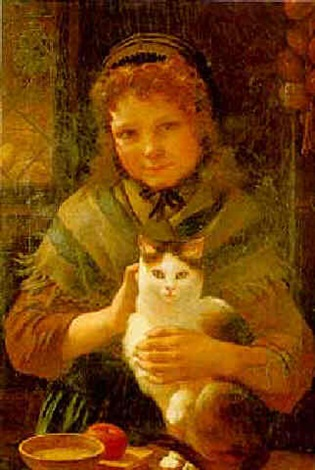 portrait of a girl with her cat by pierre louis de coninck