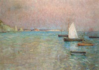 swanage bay, evening by moffat peter lindner