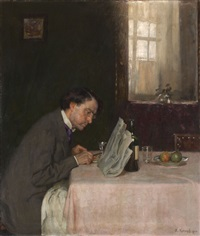 reading a newspaper by arthur kampf