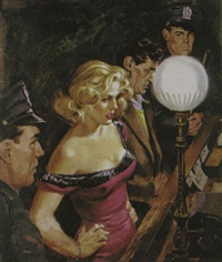 blonde and a man with two policemen standing in front of desk sargent by howell dodd