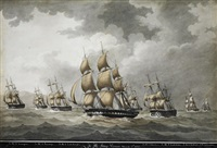 warships preceding under sail (7 works) by nicholas cammillieri