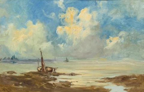 boats on an estuary by antoine vollon