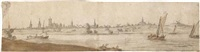 panoramic landscape with boats on a river, and a town behind by abraham de verwer