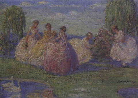 elegant ladies in a garden by eleanor abrams