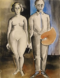 selbstbildnis mit palette und weiblichem akt by alois erbach