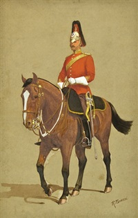 equestrian portrait of an officer of the household cavalry by richard simkin