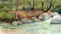 paisaje con bosque y rio by joaquín clausell