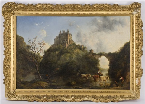 rural scene with castle in the background by henry c gritten