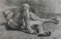 a reclining male nude by domenico corvi