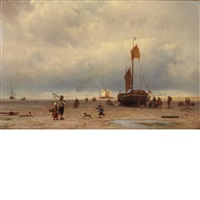 view of a beach at low tide by johannes hermanus barend koekkoek