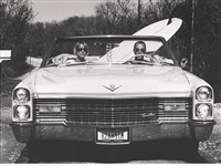 dave and pam in their caddy, montauk, new york by michael dweck