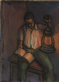 untitled (boy reading by gaslight) by herman bailey