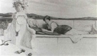 a lady in roman dress resting on a terrace by alfred c. weatherstone